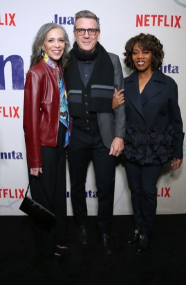 """NEW YORK, NEW YORK - MARCH 07: Author Sheila Williams, writer Roderick Spencer and actress Alfre Woodard attend """"Juanita"""" Special Screening on March 07, 2019 in New York City. (Photo by Monica Schipper/Getty Images for Netflix)"""