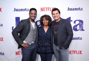 "NEW YORK, NEW YORK - MARCH 07: (L-R) Blair Underwood, Alfre Woodard and Adam Beach attend ""Juanita"" Special Screening on March 07, 2019 in New York City. (Photo by Monica Schipper/Getty Images for Netflix)"