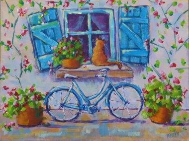 Art Card Kitty and Blue Bike
