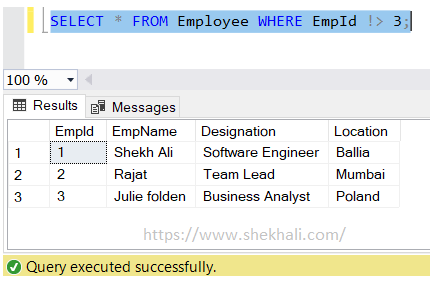 not greater than operator in SQL server