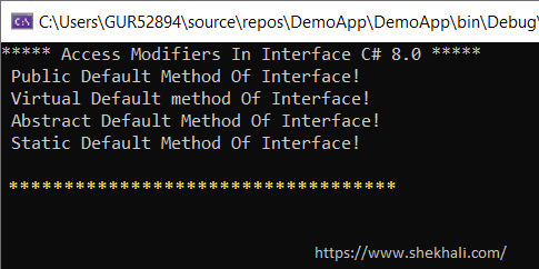 Access Modifiers in Interface C# 8