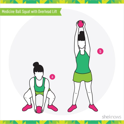 small resolution of 1 medicine ball squat with overhead lift