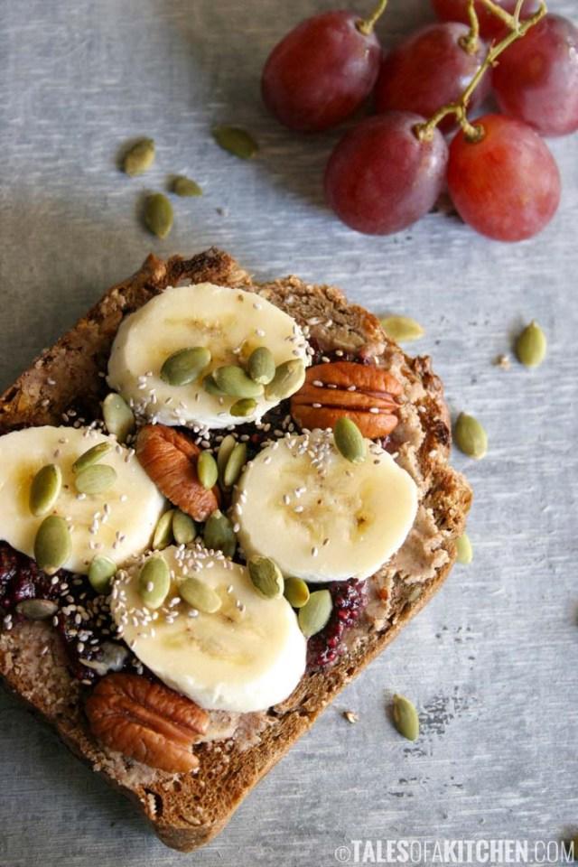Healthy sandwich recipes open PBJ.