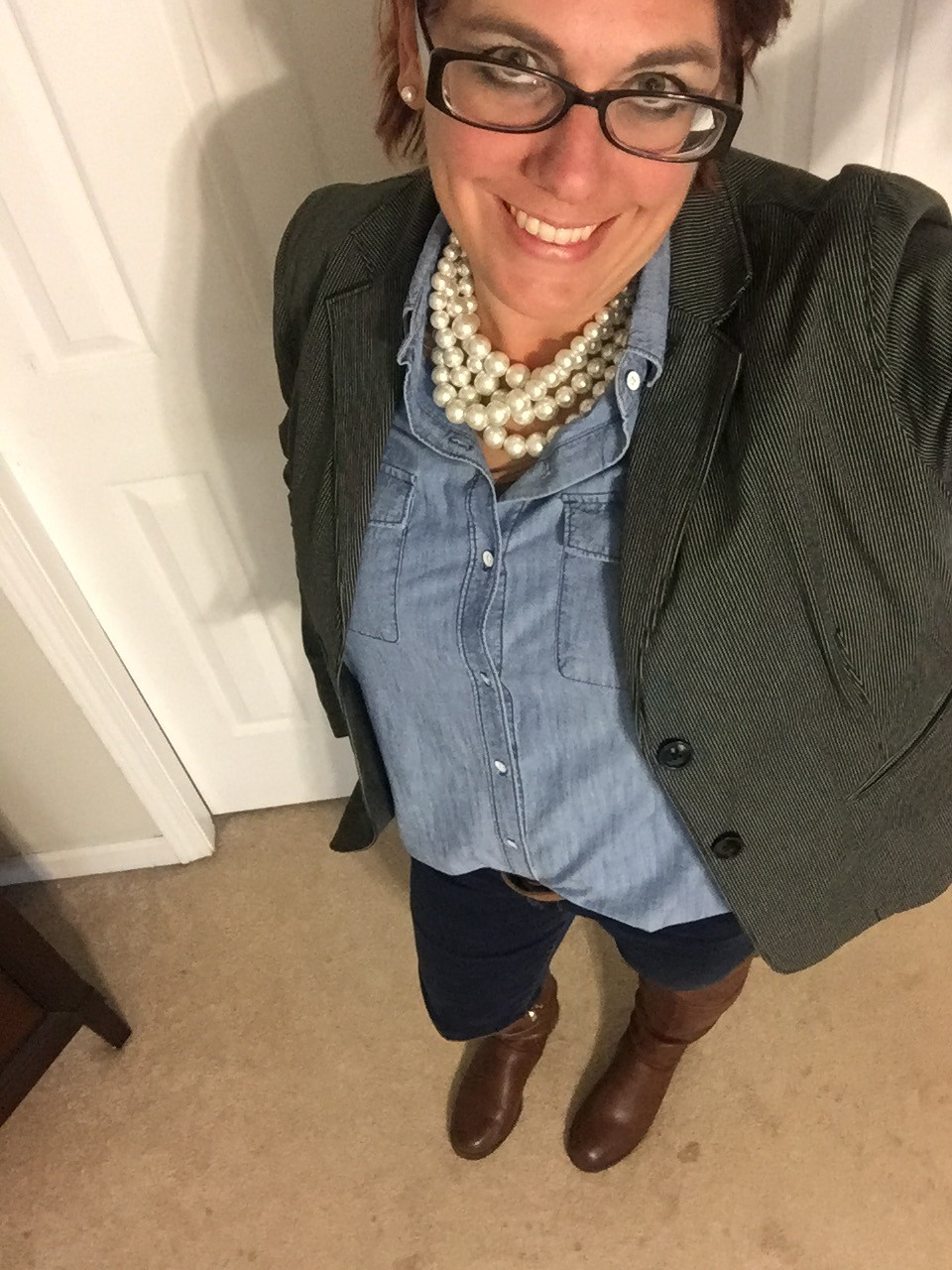 Double Denim and Pearls
