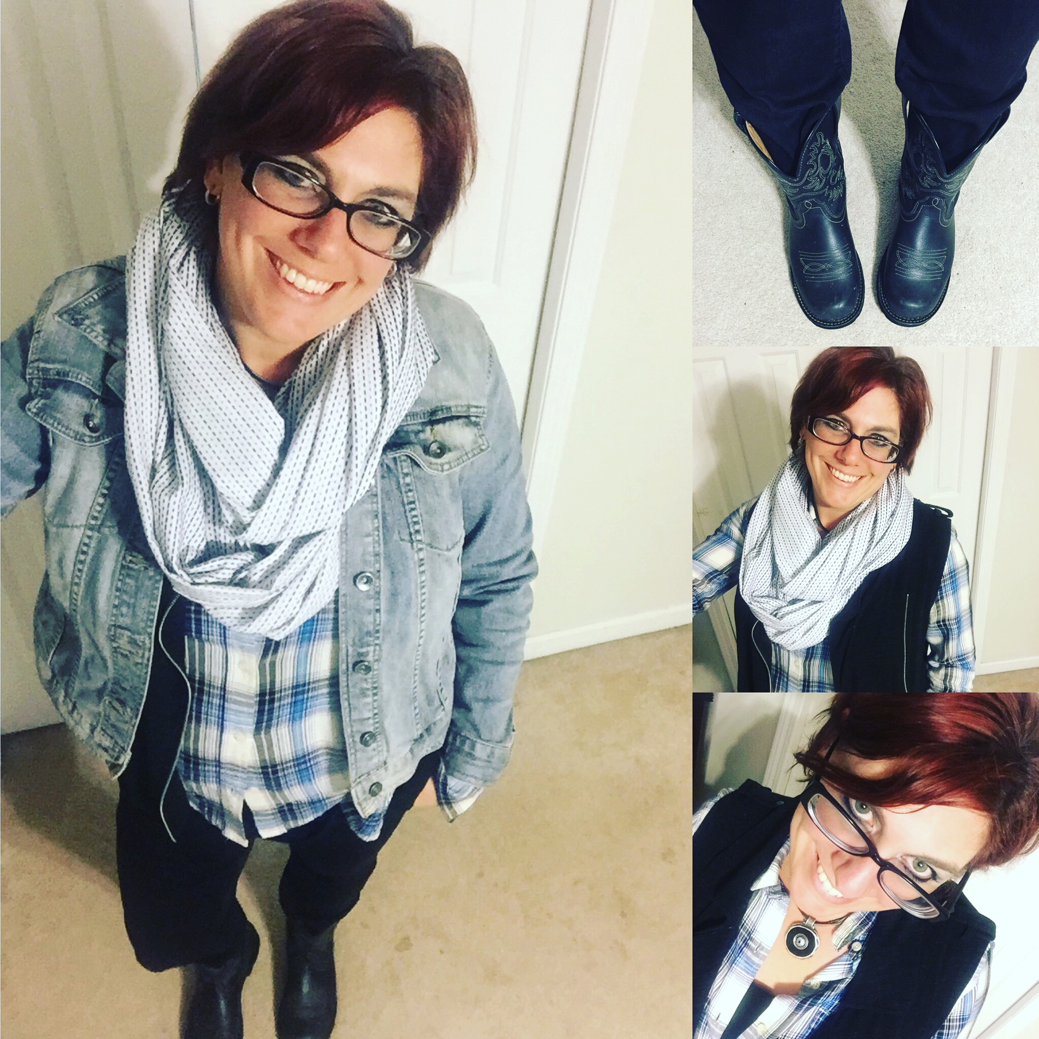Denim, Denim, Plaid, and Cowgirl Boots