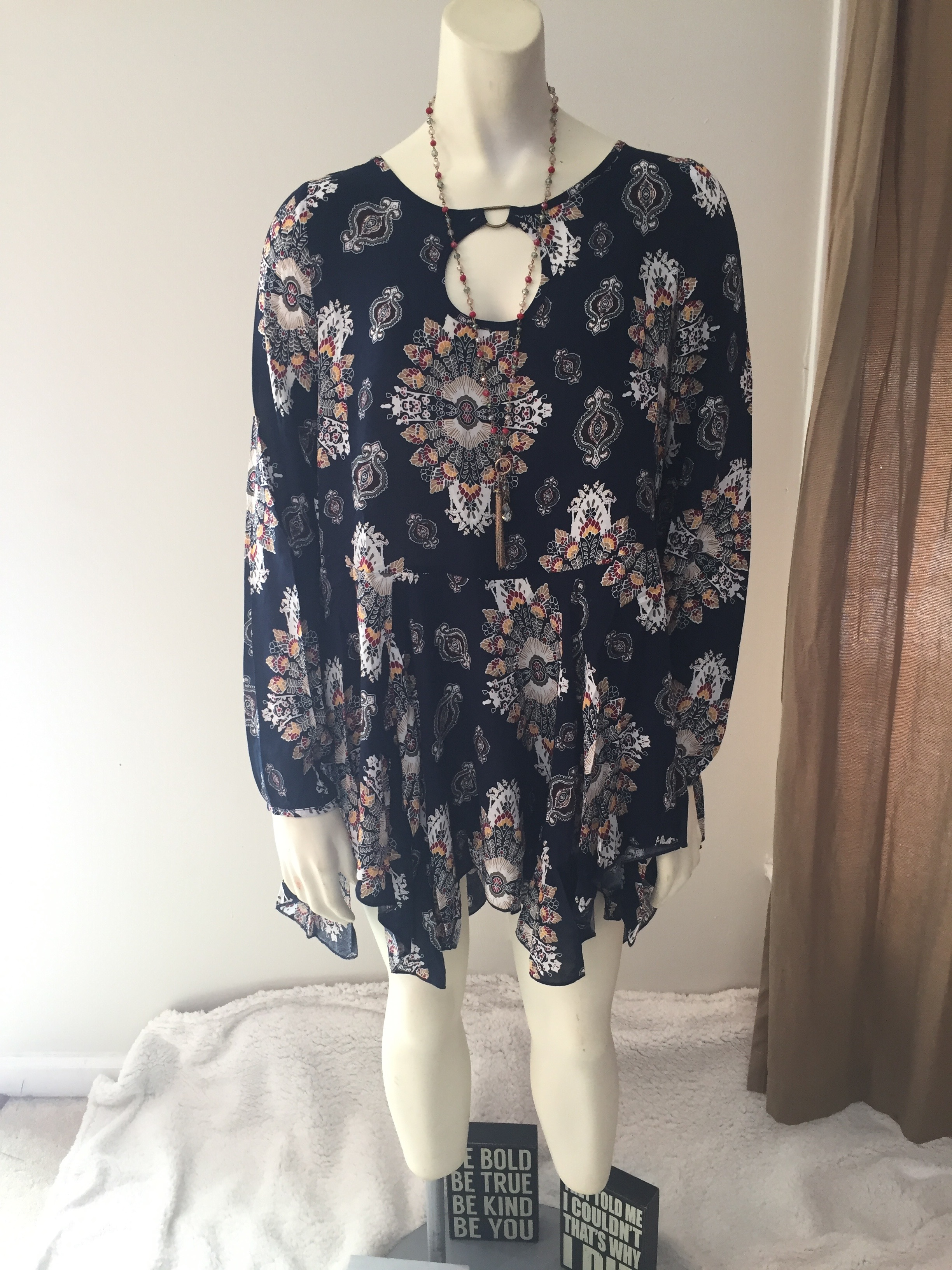 Navy Blue Printed Boho Tunic