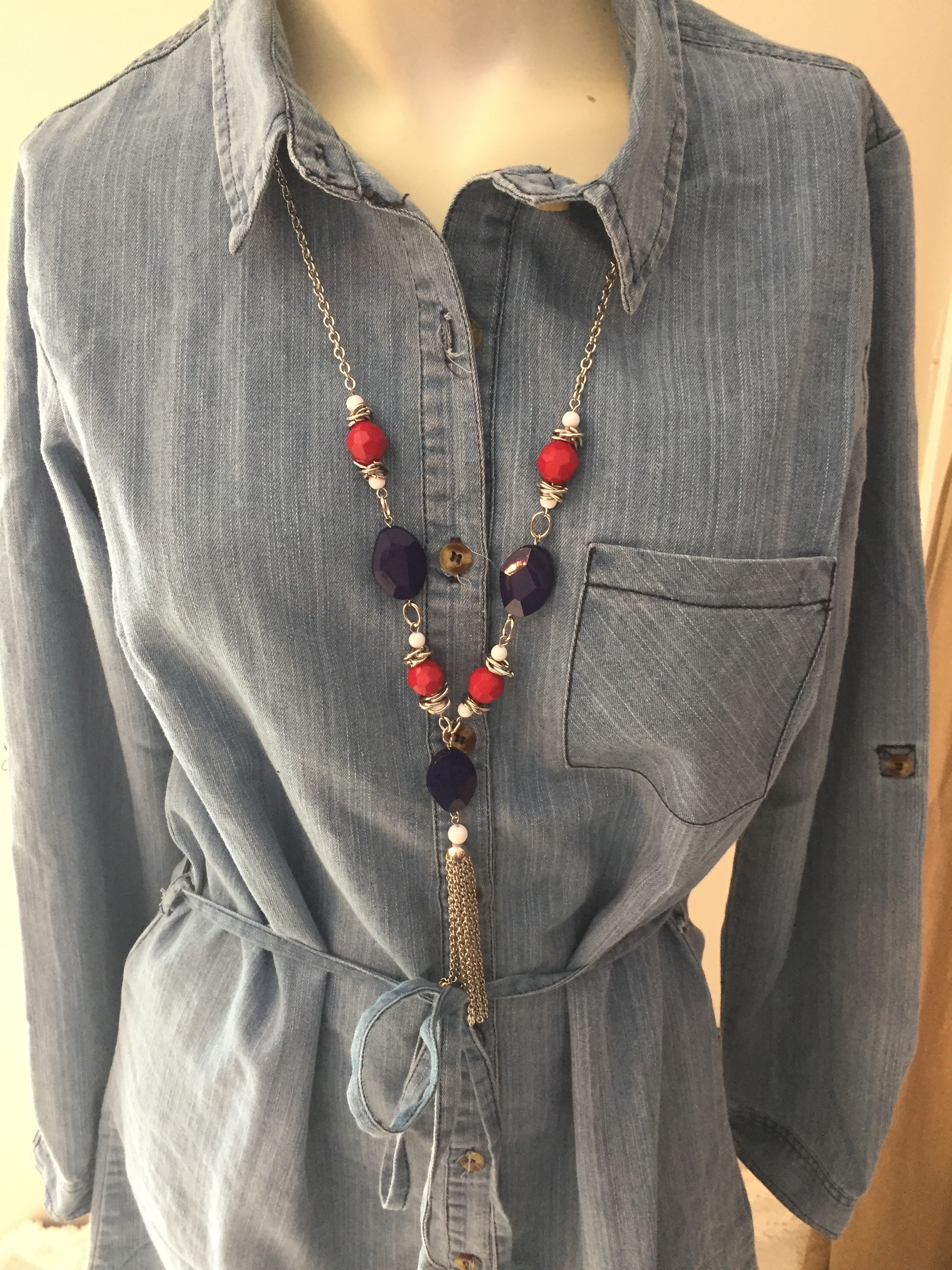 Red, White, and Blue Tassel Necklace