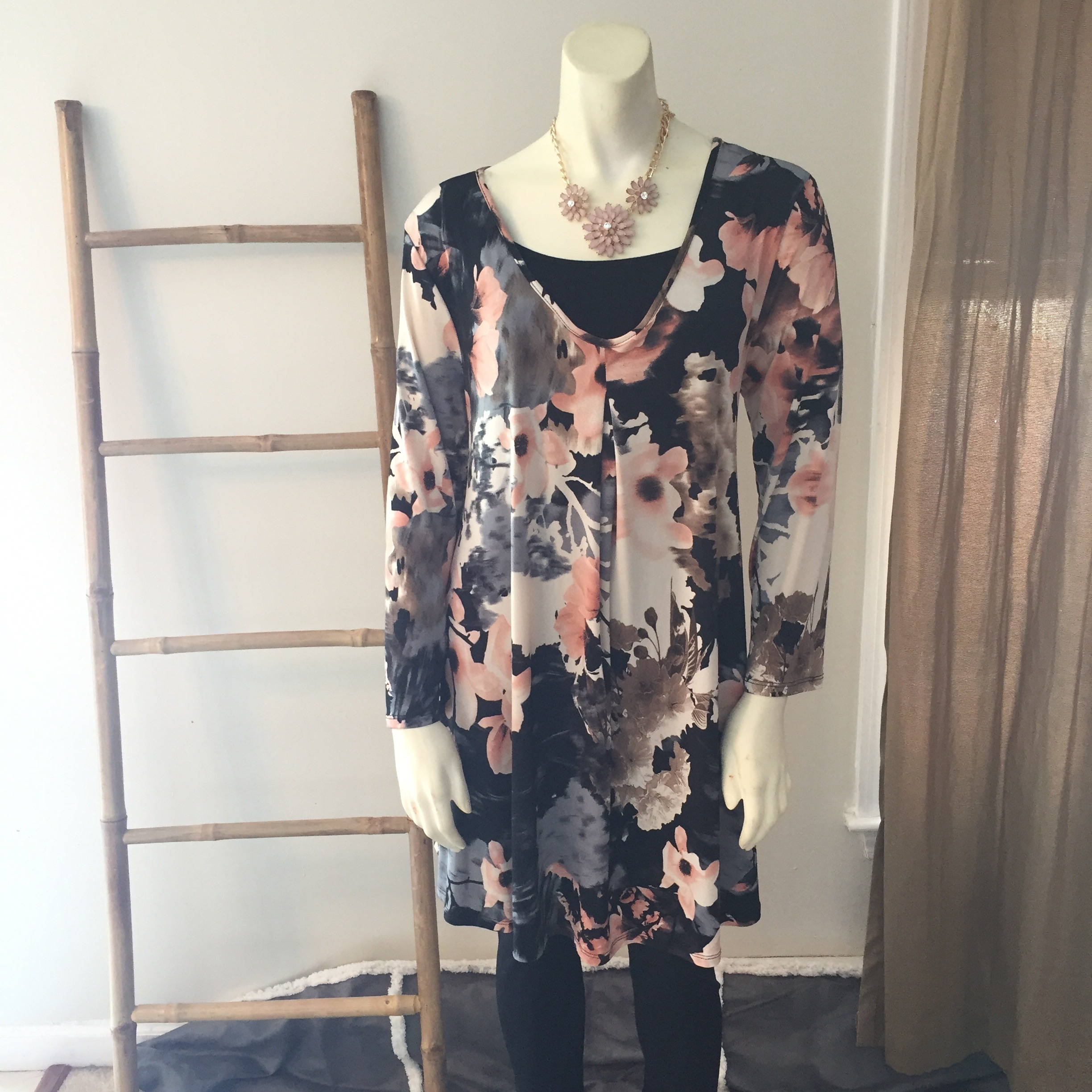Charcoal and Blush Floral Long Sleeve Dress