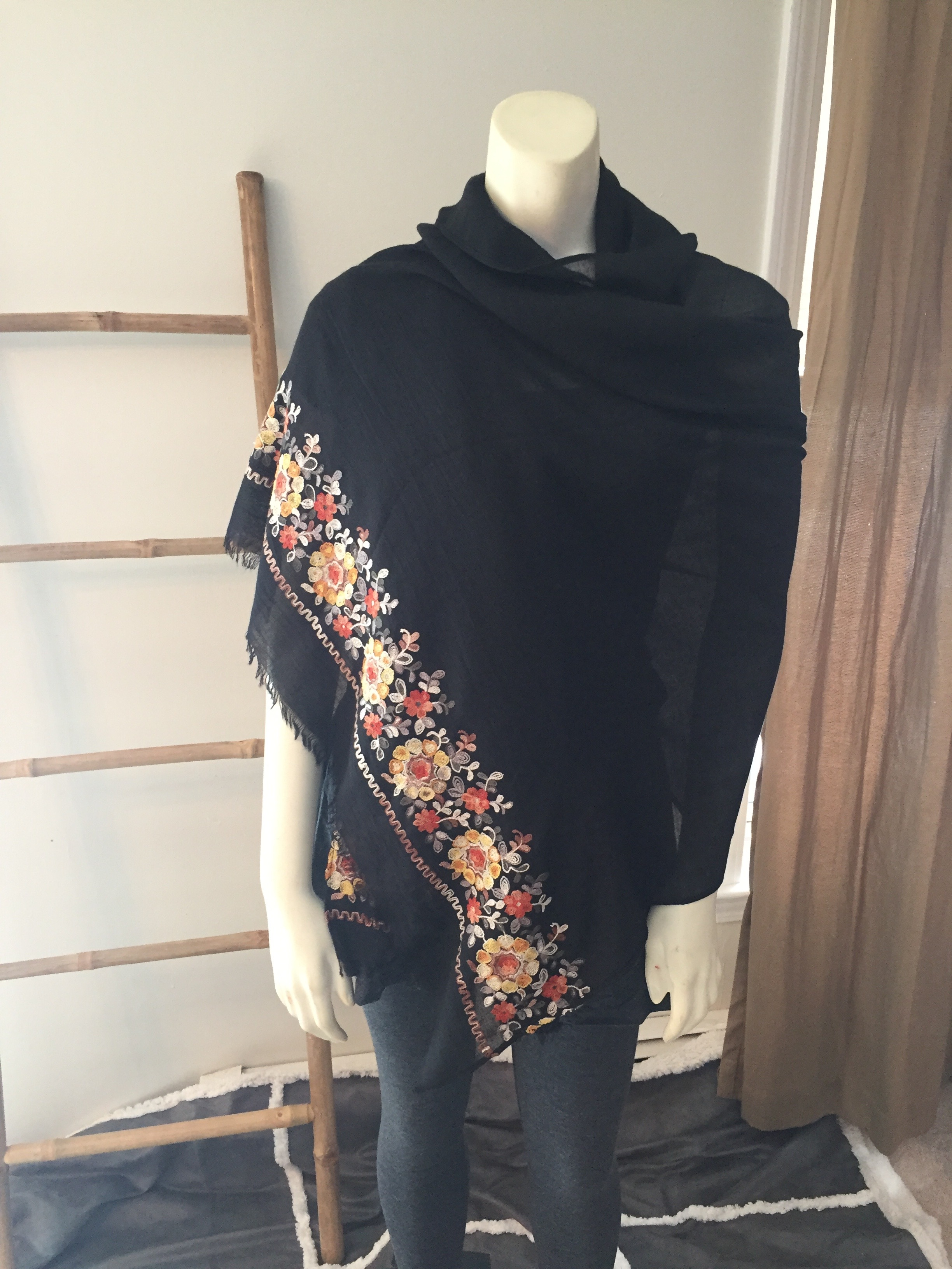 Black Floral Embroidered Scarf