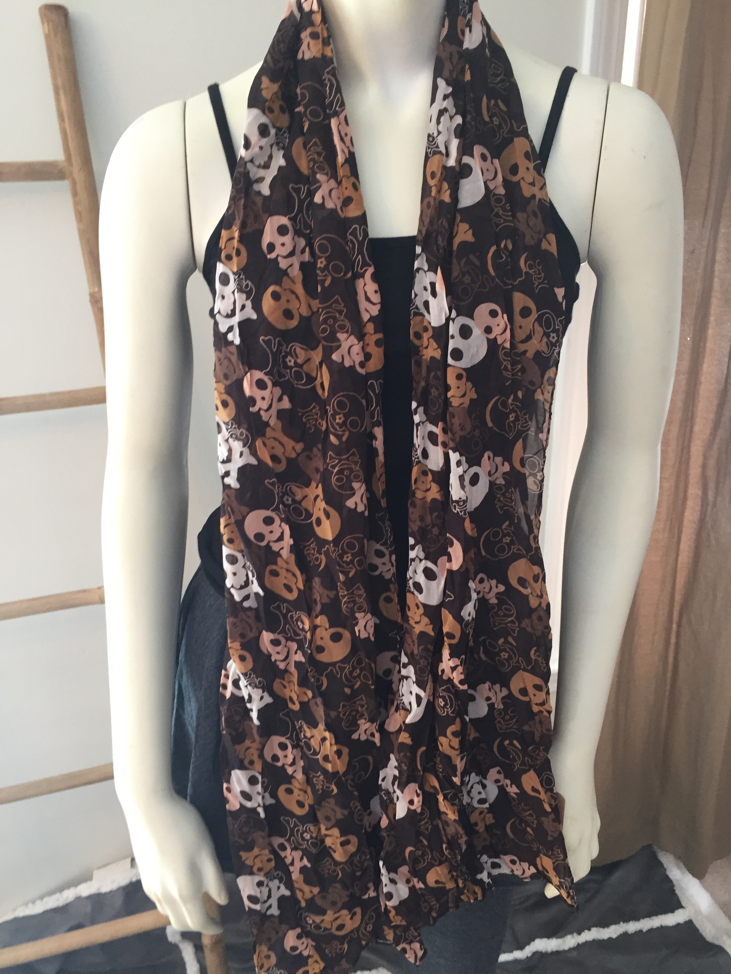 Brown Skull Print Scarf
