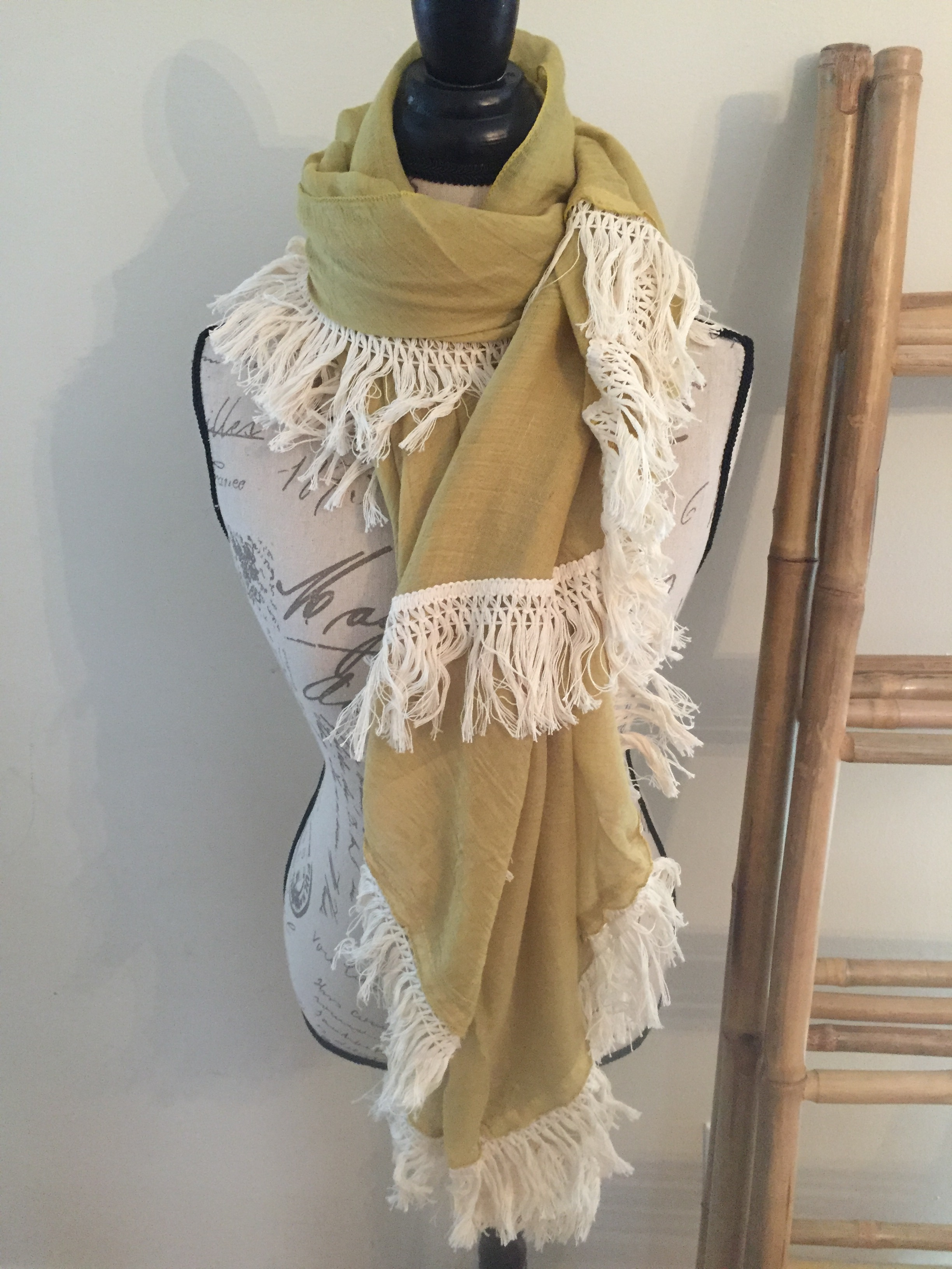Fringed Half Circle Wrap Scarf
