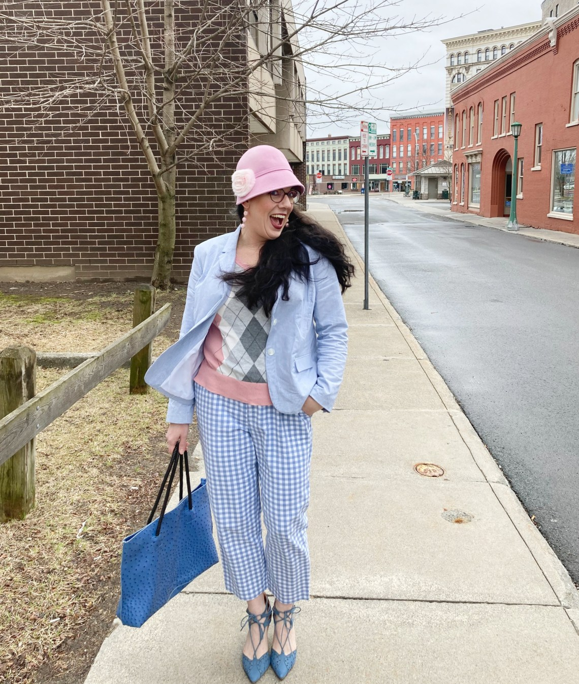 seersucker, gingham, argyle, pastels, print mix, Easter outfit, cloche hat, fashion over 40, Shelbee on the Edge