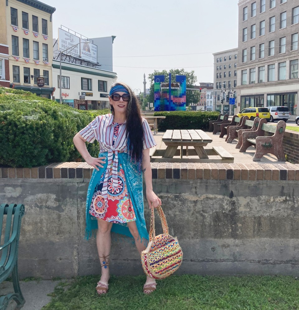 Candy Crush outfit, Fab 40s, bright outfit, thrifted style, fashion over 40, Shelbee on the Edge