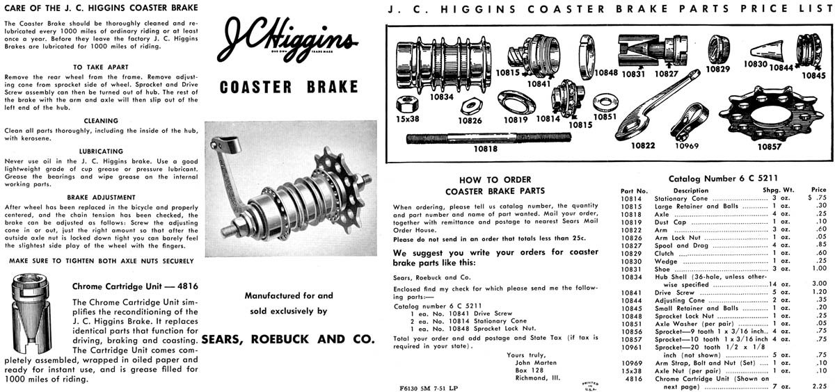 Musselman and J.C. Higgins Coaster Brakes for Bicycles