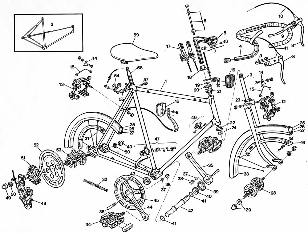 Raleigh Record Bicycle Exploded Drawing from 1977 Raleigh