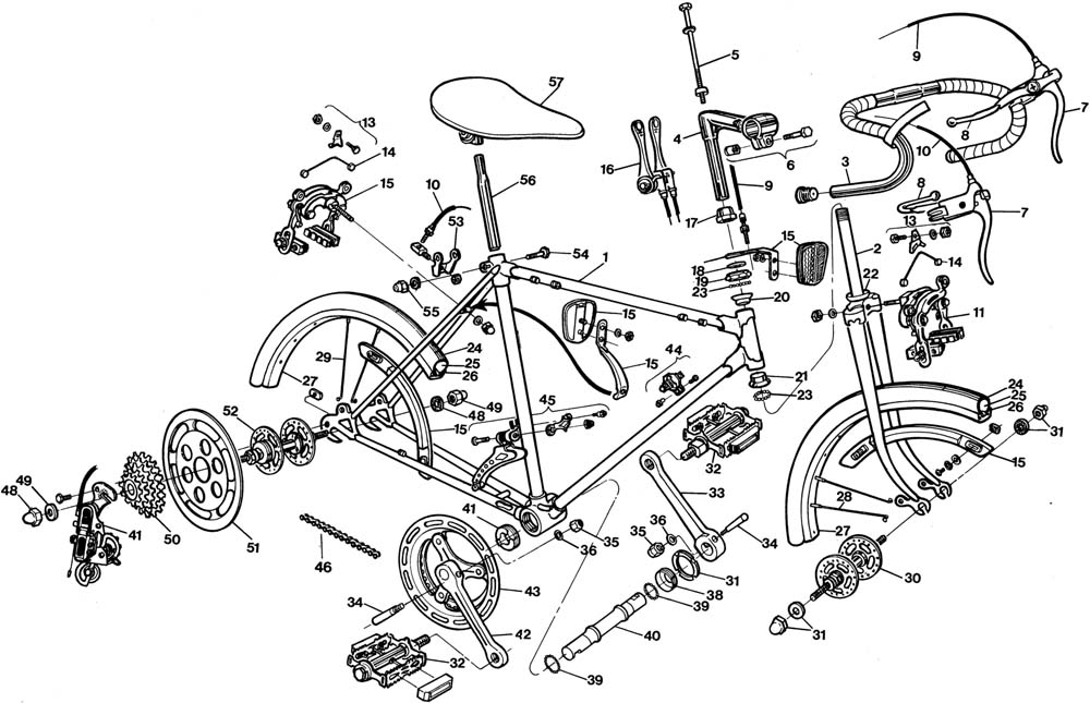 Raleigh Record 26 Bicycle Exploded Drawing from 1977