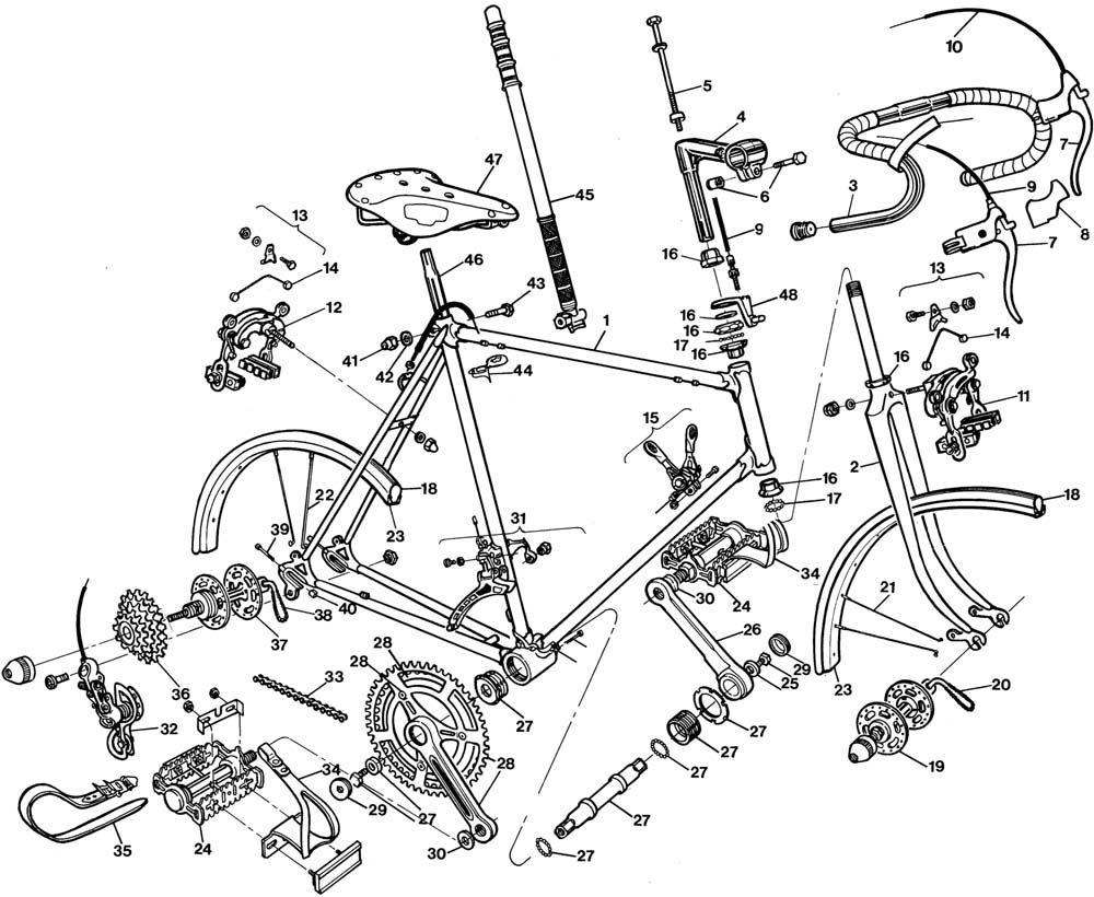 Raleigh Competition Bicycle Exploded Drawing from 1977