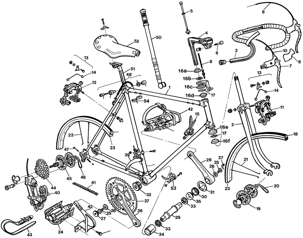 Raleigh International Bicycle Exploded Drawing from 1977