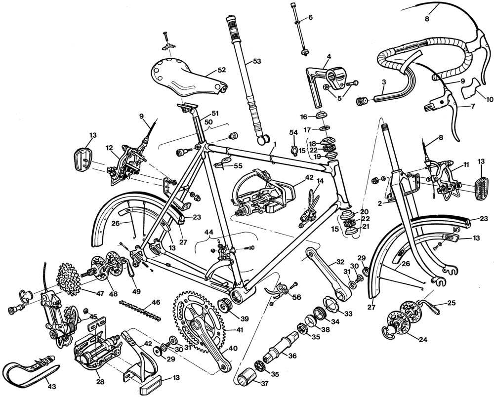 Raleigh Professional DL175 Bicycle Exploded Drawing from