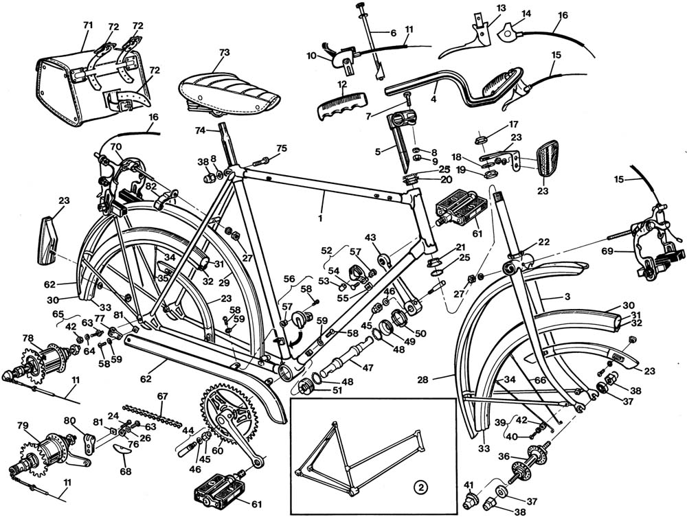 Raleigh Sports DL22 Bicycle Exploded Drawing from 1977