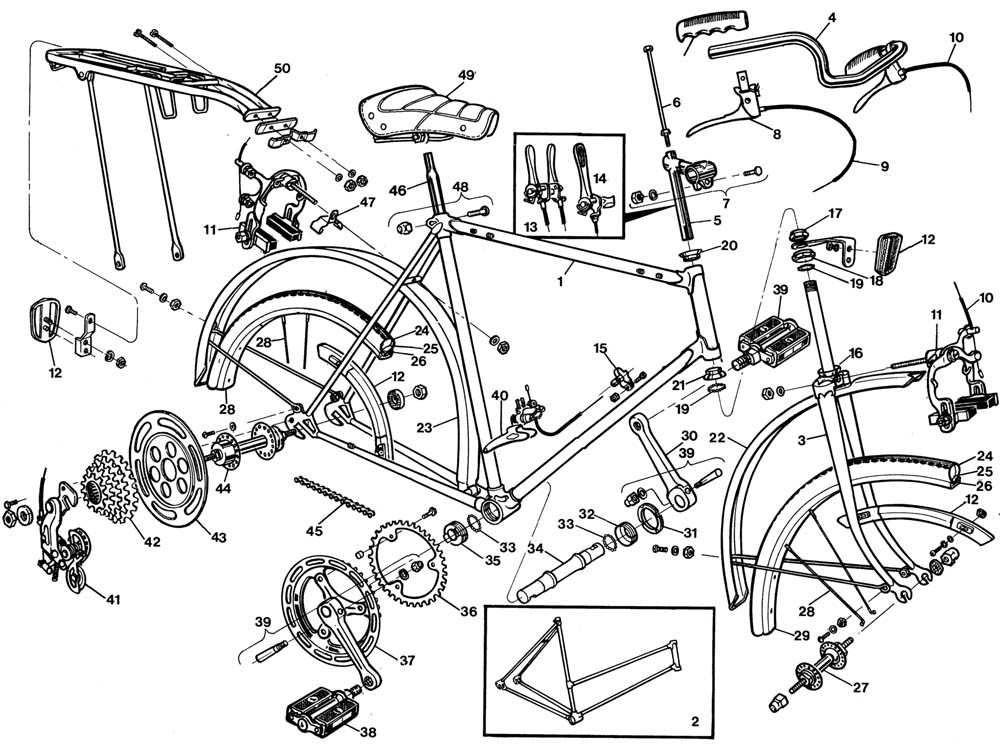 Raleigh Sprite DL90 Bicycle Exploded Drawing from 1977