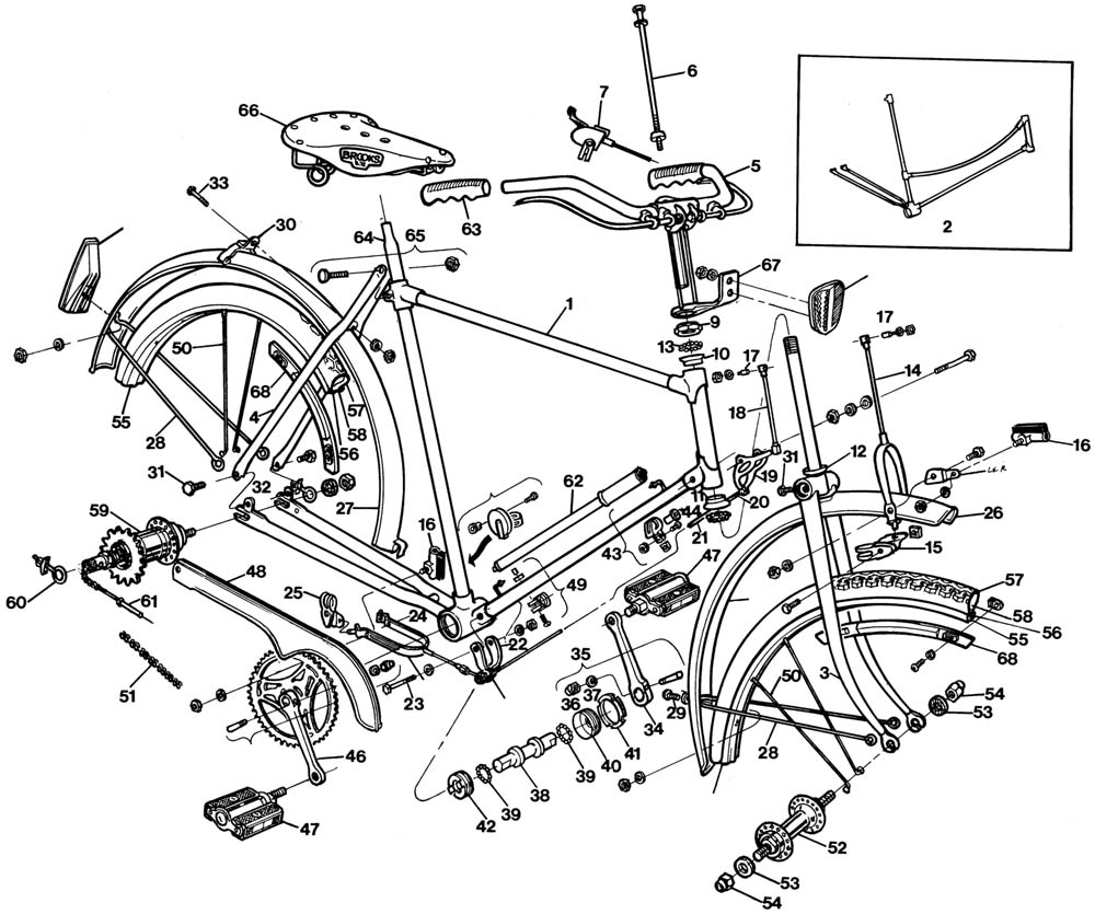 medium resolution of raleigh tourist dl1 exploded drawing from 1977 raleigh dealer manual