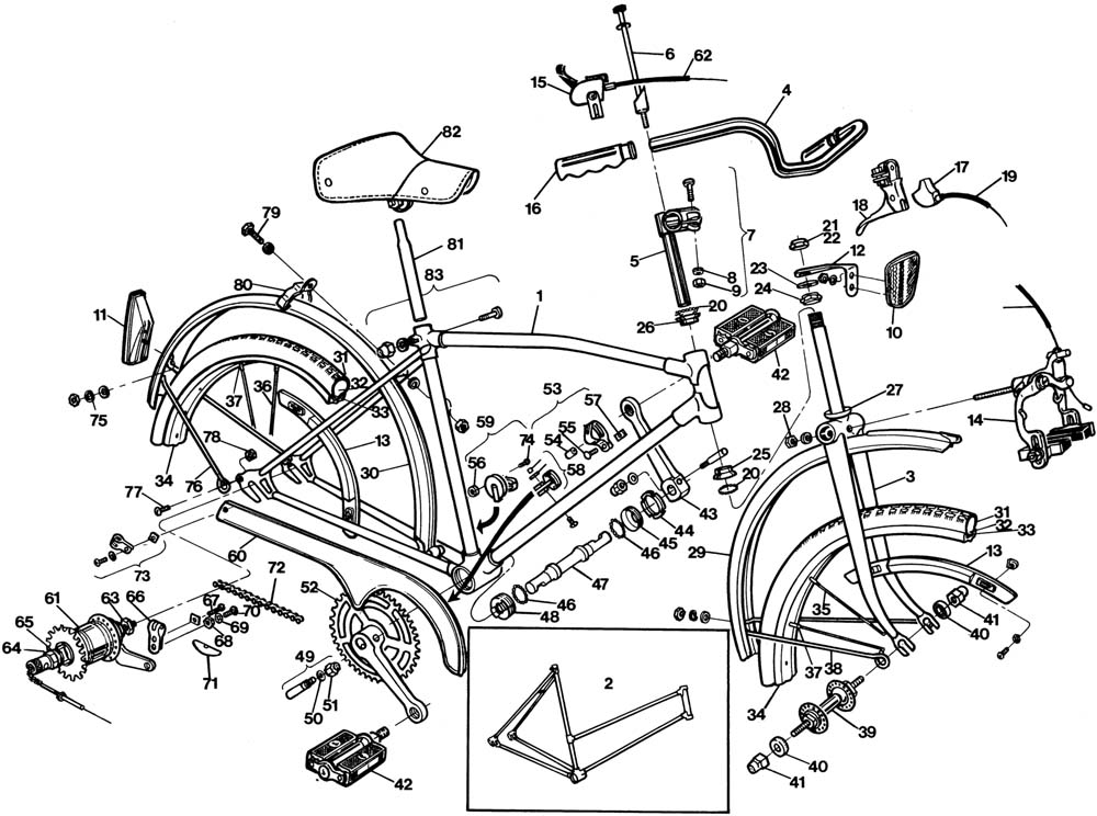 Raleigh Space Rider DL54 Bicycle Exploded Drawing from