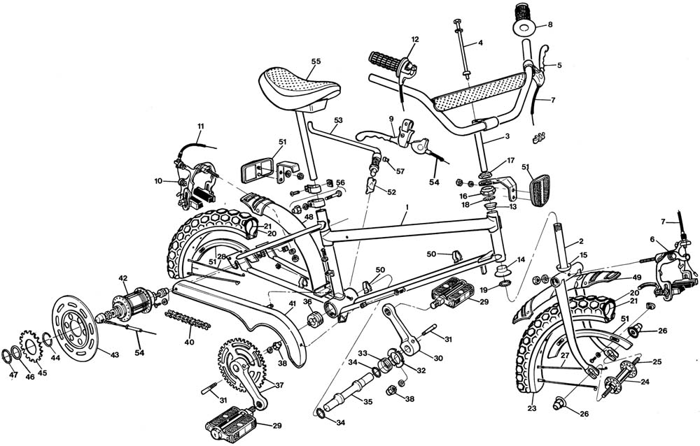 Raleigh Grifter DL60 Bicycle Exploded Drawing from 1977
