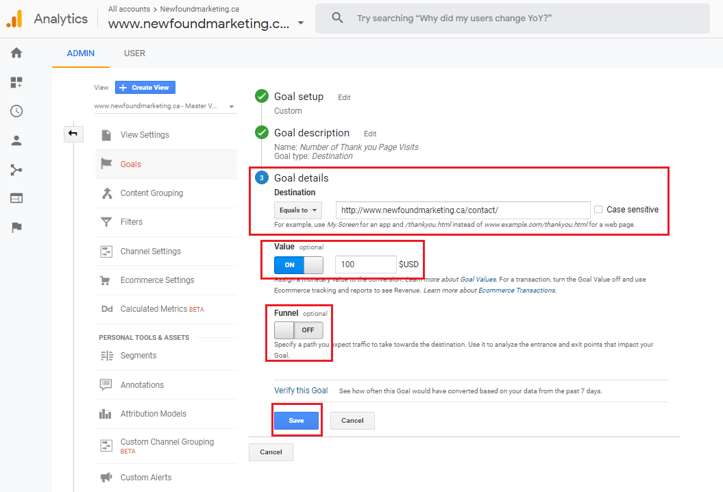 Google Analytics Destination Goal 2