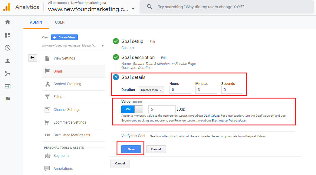 Google Analytics Duration Goal 2