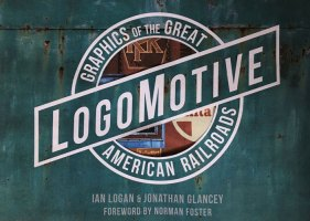 The title and sub-title of Logomotive are made up into a ball-and-bar motif designed to look as if it is painted on the side of a rusty green boxcar, with a cut-away revealing the logos printed on the endpapers underneath.