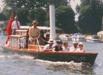 Colour photograph of the steam launch Eva on the river at Henley, 1988.