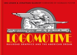 Presented on a red background is a black and white railroad graphic of Zephyrus, winged god of the west wind, pointing to the future above a speeding, three-car diesel train. The title Logomotive follows in bold, yellow, Art Deco lettering.