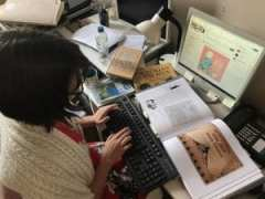 Photograph of a Sheldrake Press editor at work, offering a glimpse of the editorial process opened up by the membership scheme.