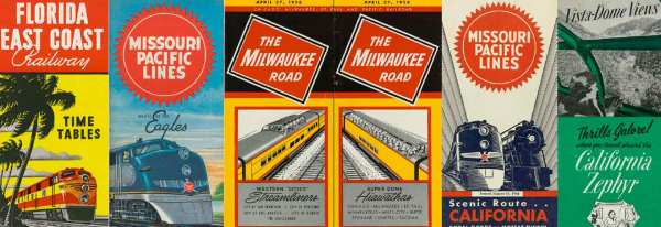 On this double-page spread from Logomotive Chapter 5 are the colourful covers of five timetables issued by the Florida East Coast Railway, Missouri Pacific Lines, Milwaukee Road and other companies.