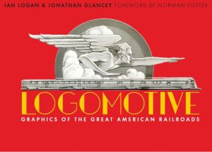 Displayed on a red background is a 1934 black-and-white sketch of Zephyrus, god of the west wind, pointing to a streamlined future above a speeding, three-car diesel express, and beneath it is the title Logomotive printed in yellow in an Art Deco font.