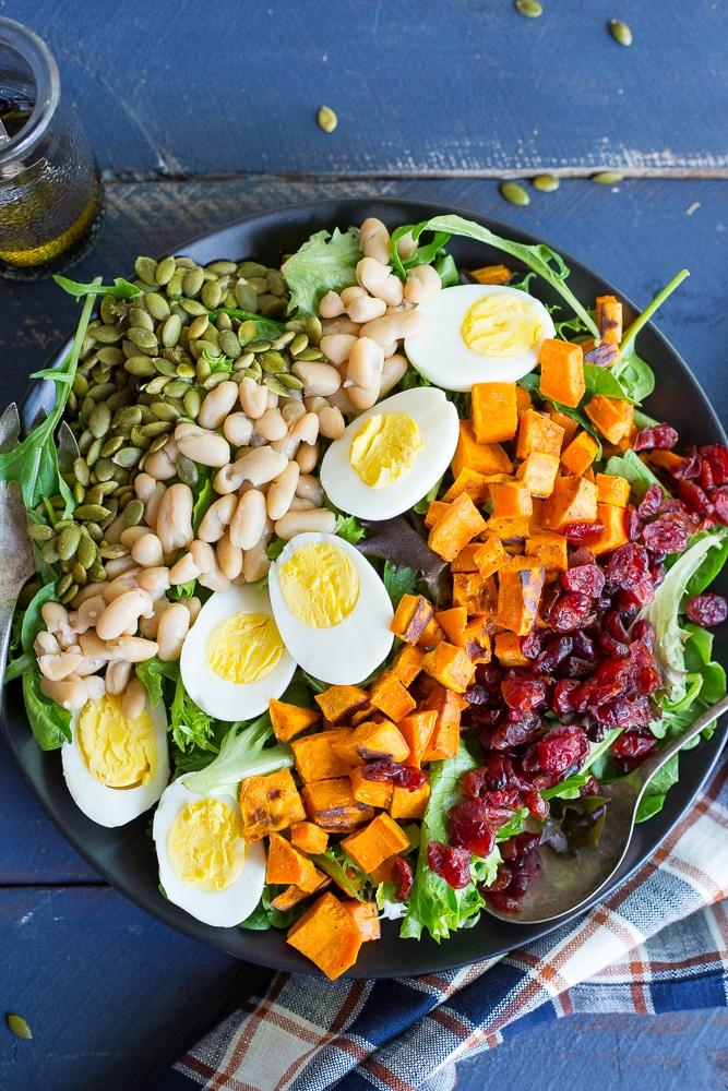 Vegetarian Cobb Salad with Roasted Sweet Potato - She