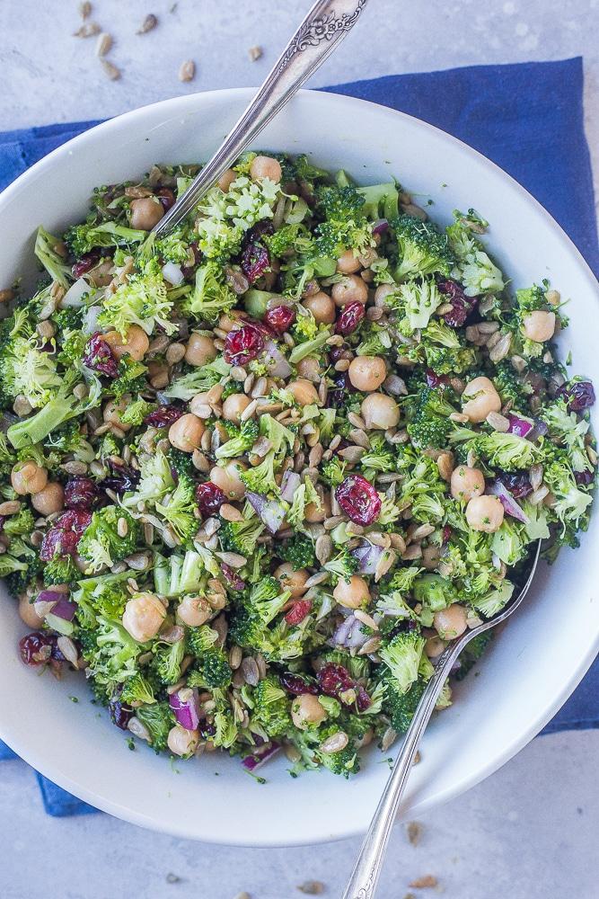 Large bowl of Crunchy Broccoli Salad