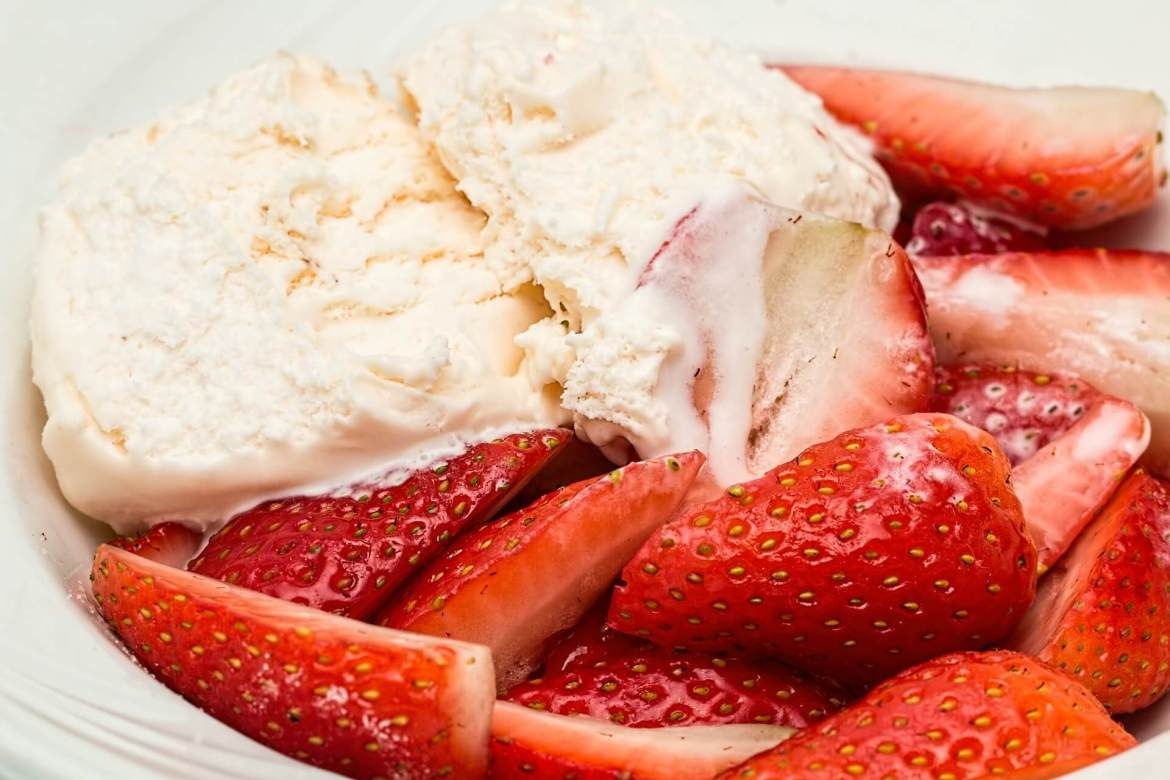 messy strawberries - strawberries and ice cream