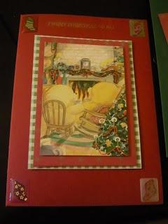 Christmas card fireplace scene