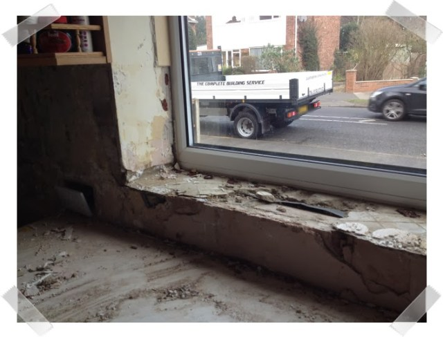 Kitchen woes - I made a right mess of the window sill when I took the tiles off!
