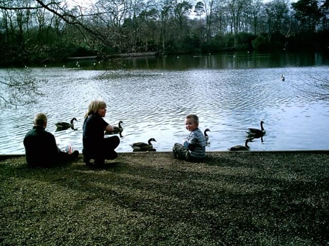 Aiden, Kenny and Bethany feeding the ducks at Hartsholme park