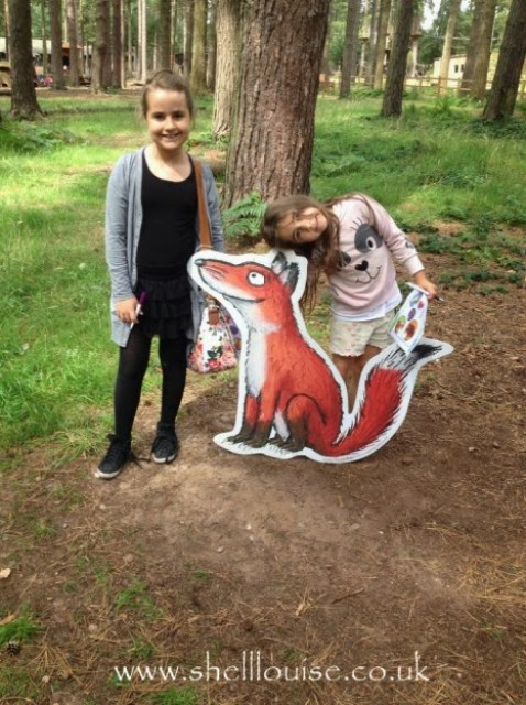 KayCee and Ella with the fox from the Gruffalo