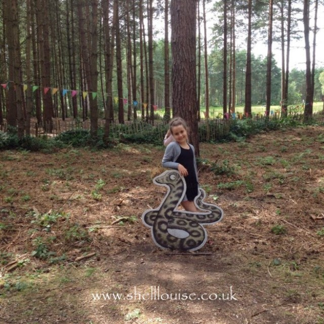 KayCee with the snake from the Gruffalo