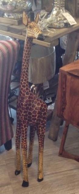 Wooden floor-standing giraffe