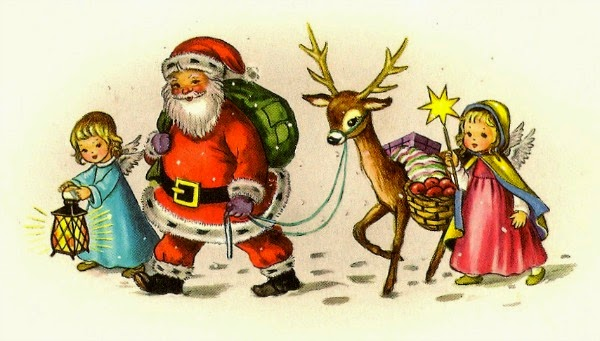 Vintage Christmas card - Santa, a reindeer and 2 angels