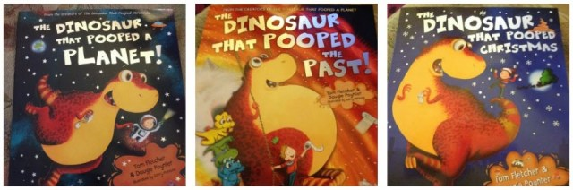 The dinosaur that pooped a planet, The dinosaur that pooped the past and the dinosaur that pooped Christmas books