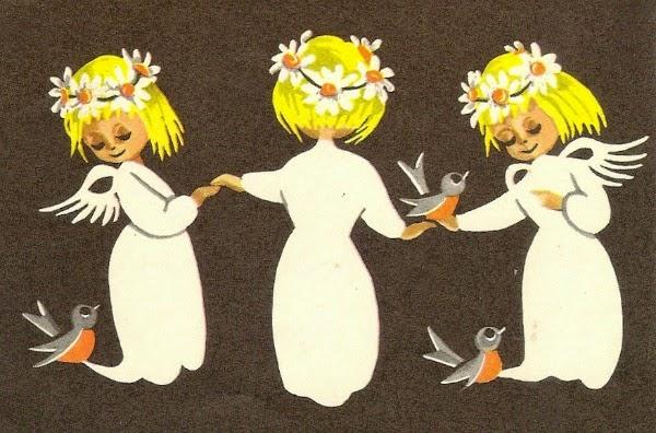Christmas tag - vintage Christmas card - three angels and birds