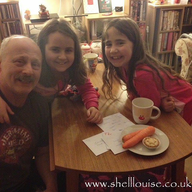 Ant, Kaycee and Ella putting food and drink out for Santa and Rudolph - Christmas Eve photos
