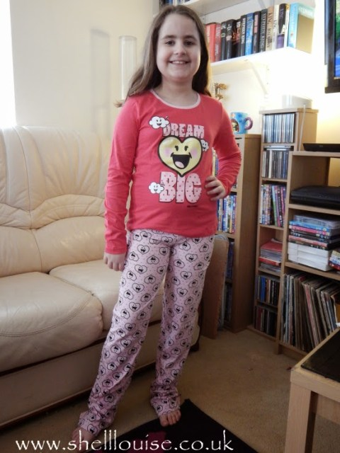 Kaycee wearing her new pyjamas from Lamaloli